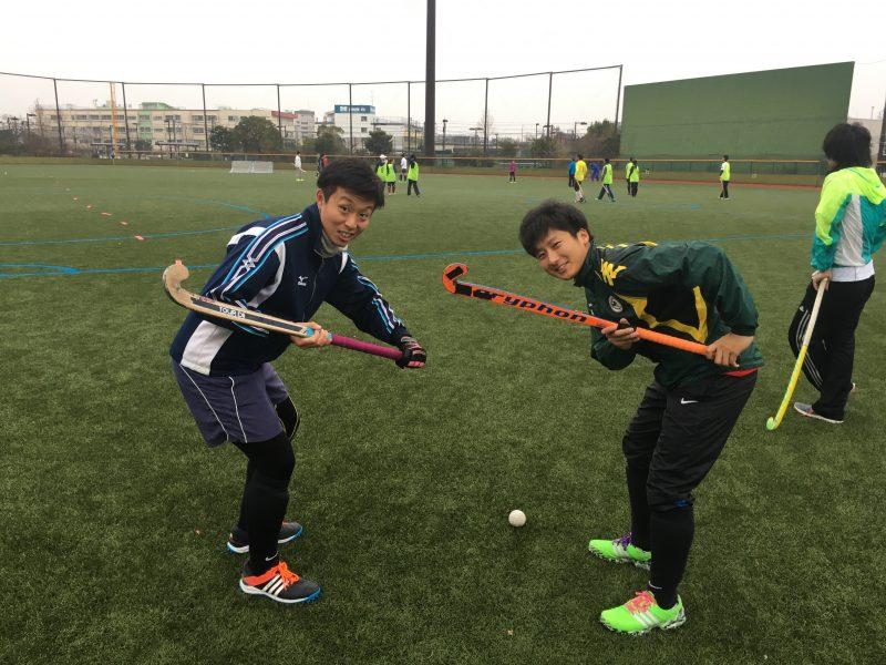 大学の同期・金内君(左)も参加していました。右が津田選手。